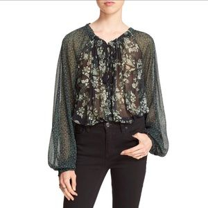 Free people green floral sheer Hendrix blouse